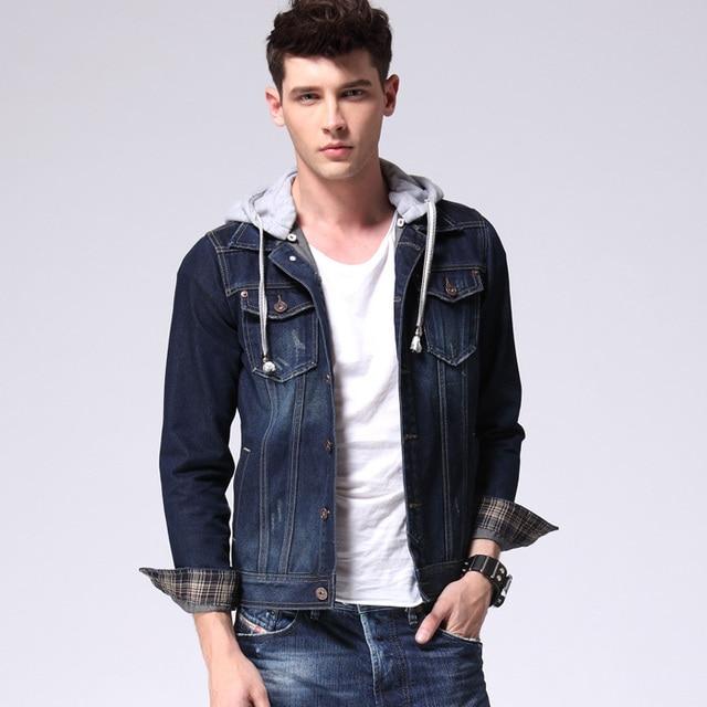 84ddc2e904c1 2015 New Arrival Denim Jacket Men Detachable Hooded Jackets Men Fashion  Cotton Mens Jackets And Coats Dark Blue Jacket