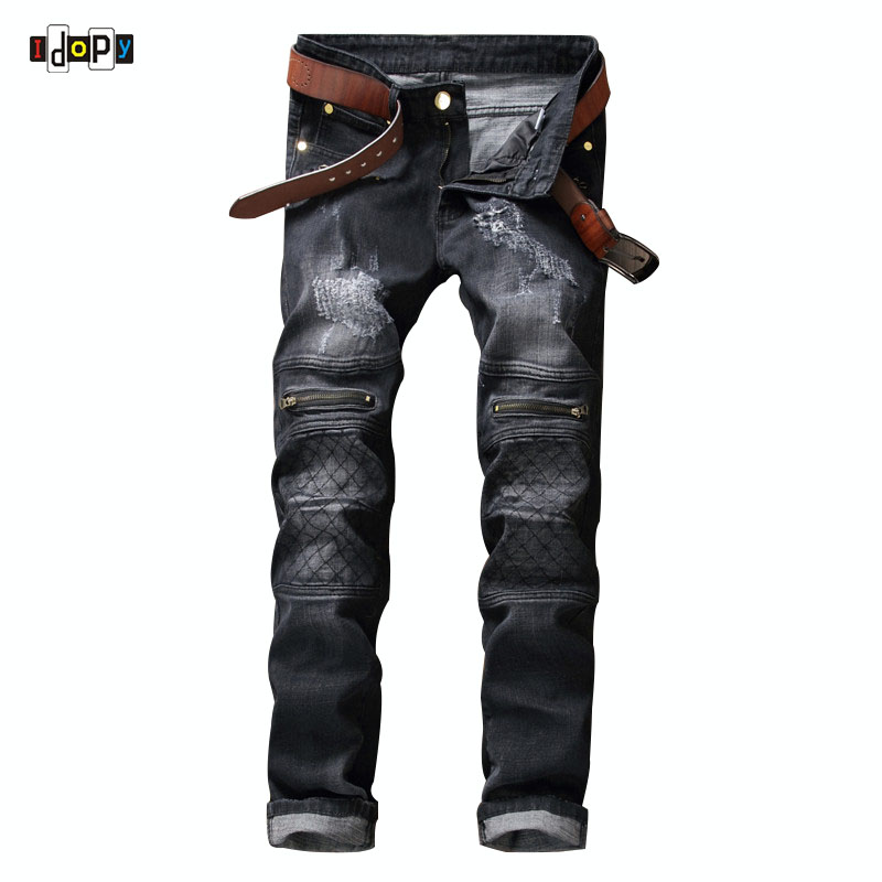 ФОТО Fashion Designer Biker Jeans With Knee Zippers Ripped Distressed Motorcycle Denim Joggers Pants Straight-Fit For Male