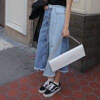 Fashion Women Long Skirt Single Breasted High Waist Trend Irregular Cowboy Skirts Blue 1502