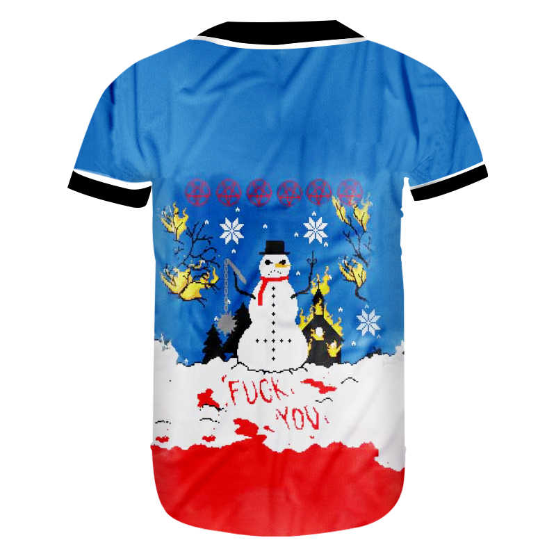 """CJLM Рождественская Мужская смешная негабаритная бейсбольная рубашка с 3D принтом мужская синяя """"Белый Снеговик"""" футболка Лучшие продажи поставщиков"""