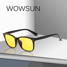 WOWSUN New Square Men Women Anti-Blue Light Glasses Brand Ri