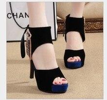 Neue Marke 2015 Europäischen Sexy dame Offene spitze Plattform Pumpen 11 cm Stiletto Frauen Dünne Ferse Partei Schuhe High Heels 2 bunte