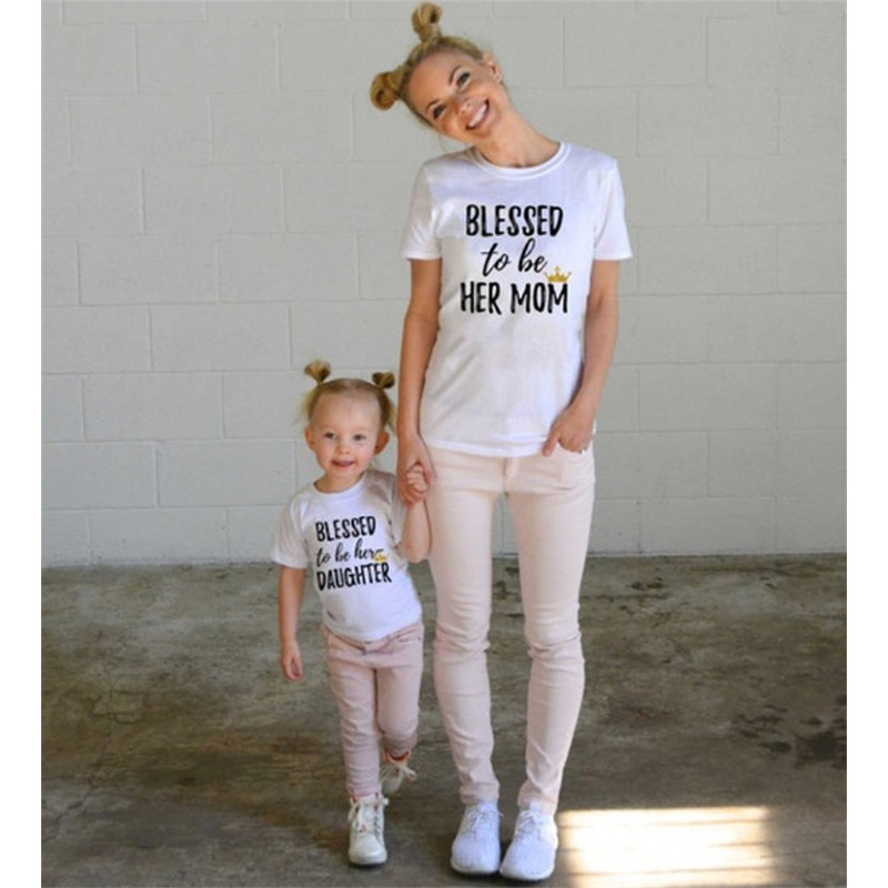 fashion mother and daughter clothes short-sleeve letter printing girls t-shirt summer casual cotton family matching clothes mens casual 3d personality skull printing short sleeve t shirt cotton sport black tees
