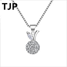 TJP Fashion Disco Crystal Beads Shaped Women Choker Wedding Party Jewelry 925 Sterling Silver Lady Girl Pendants Necklace