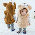 2016 Cute Cartoon Bear Design Kids Waistcoats Autumn Winter Children's Clothing Outfits Baby Tops Girls Boys Hooded Vests 1-5T