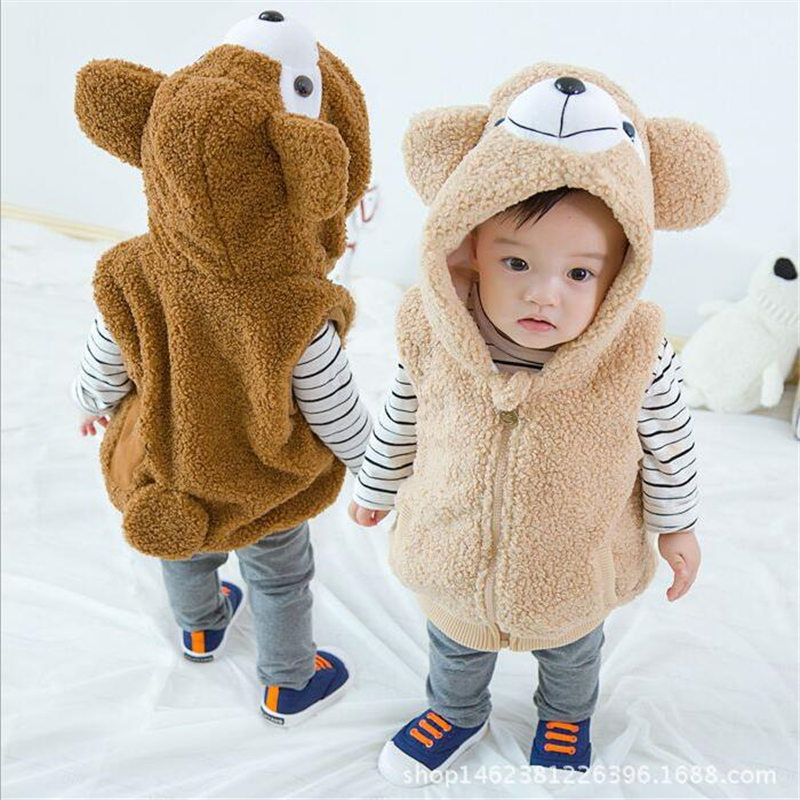 2018 Cute Cartoon Bear Design Kids Waistcoats Autumn Winter Children's Clothing Outfits Baby Tops Girls Boys Hooded Vests 1 5T