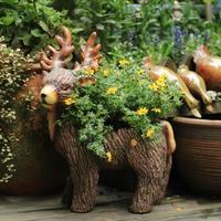 Animal Flowerpot Elk Large Creative Pastoral Personality Gardening Decoration Outdoor Garden Villa Garden vase