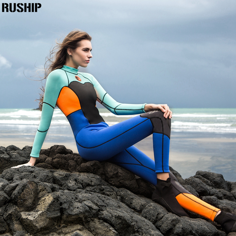 SEAC 1.5mm women neoprene wetsuit color stitching Surf Diving Equipment suit clothing long-sleeved one piece soft Elastic Warm