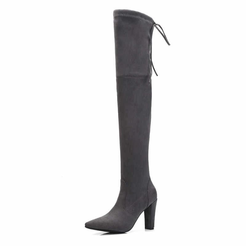 Asumer 2020 Thời Trang Trên Đầu Gối Giày Mũi Nhọn Khóa Kéo Đàn Chéo Buộc Dày Cao Cấp Thu Đông Giày Nữ giày Nữ