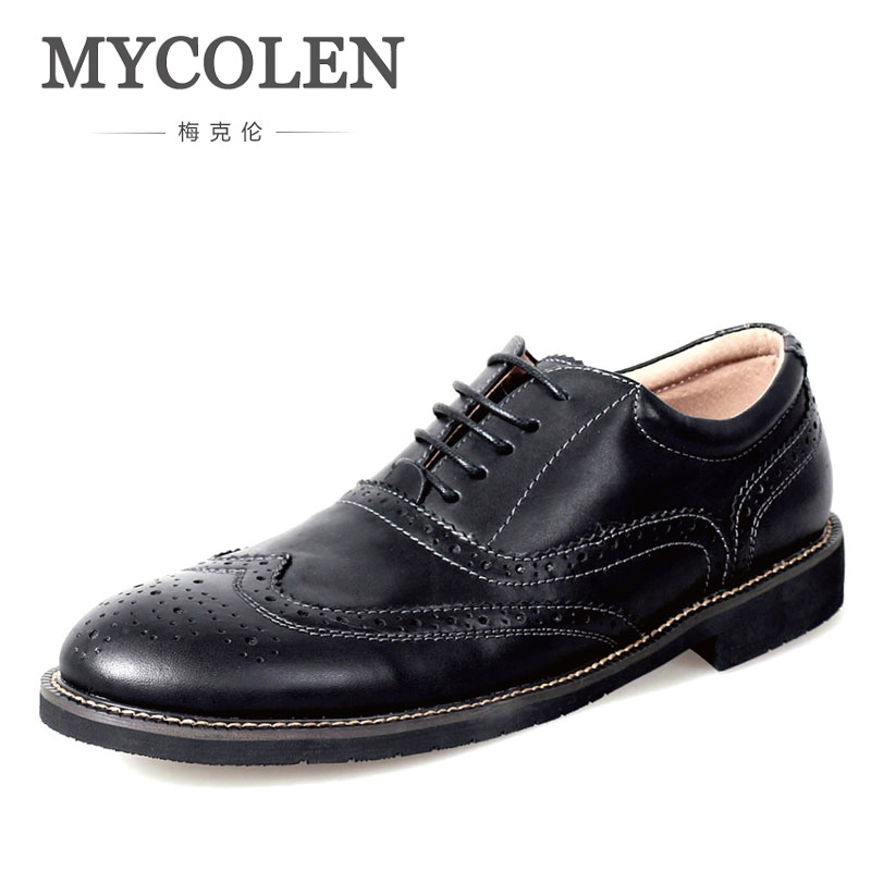 MYCOLEN Men Black Fashion Brand Genuine Cow Leather Mens Lace Up Round Toe Dress Shoes Male Brogues Male Wedding Shoes hot sale mens genuine leather cow lace up male formal shoes dress shoes pointed toe footwear multi color plus size 37 44 yellow