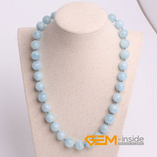 Blue Aquamarin e Necklace Natural Stone Necklace Birthstone Of March Lucky Stone For Libra, Sagittarius And Scorpio Gift