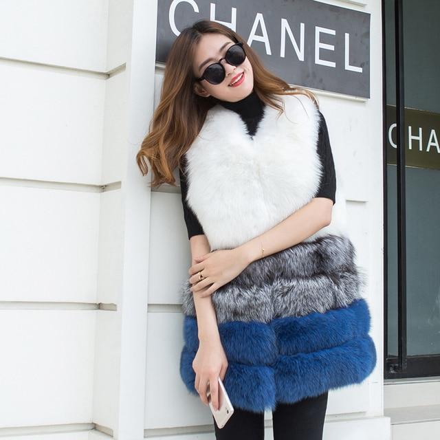 2016 осень зима роскошный новый Тонкий высокая имитация silver fox меховой хит цвет меховой жилет куртка жилет в долгосрочной разделе женщины