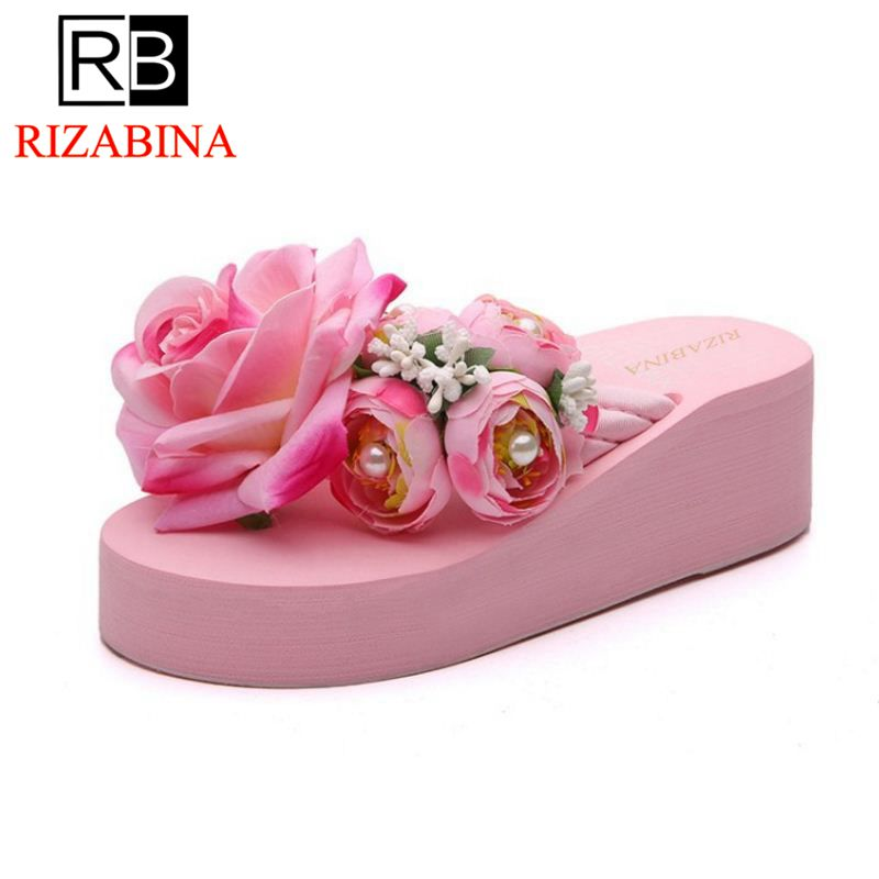 RizaBina Lady Sexy Thick Platform Wedges Heels Shoes Women Trifle Beautiful Flower Soft  ...