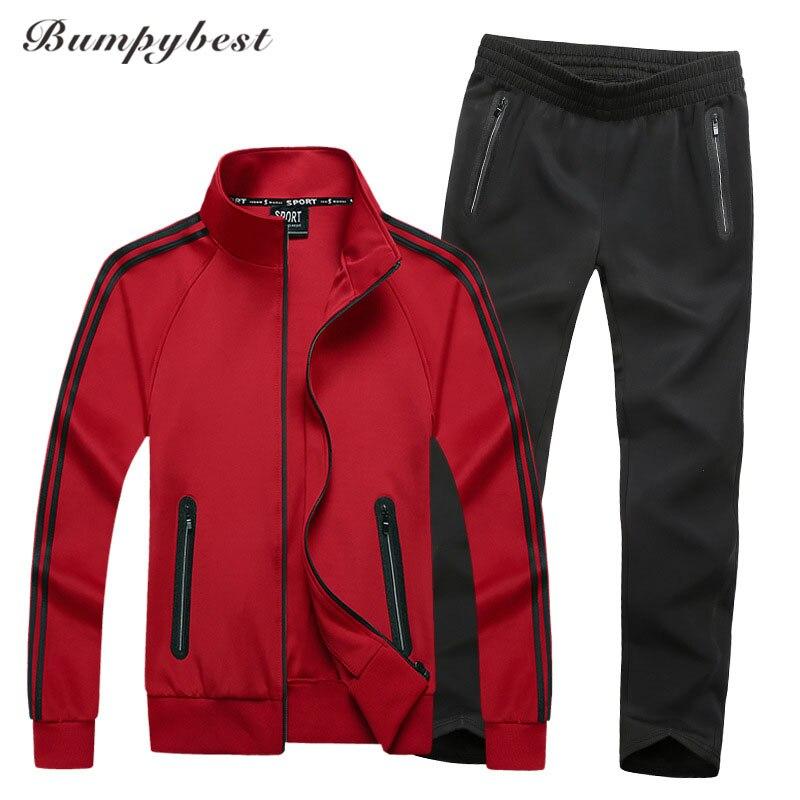 Bumpybeast 2018 nouveau Sportswear hommes printemps automne ensemble hommes survêtement rayé veste + pantalon décontracté sport costumes 6XL 7XL 8XL