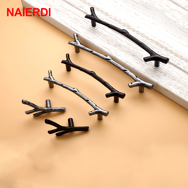 NAIERDI Tree Branch Handles Cabinet Drawer Handle Knobs Black Bronze Kitchen Handle 96mm 128mm Door Pulls Furniture Hardware 96mm cabinet handles palace euro style furniture ivory with 24k golden knobs closet door handle drawer pulls bars