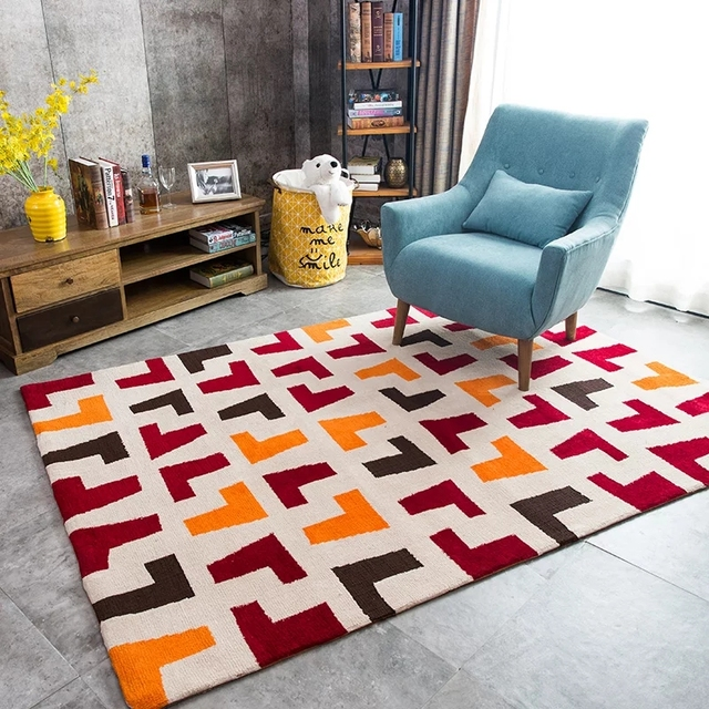 American style brown geometric living room carpet , large size ...