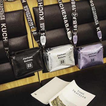 High Quality Shinning Pu Leather Female Handbag Letter Fashion Women Shoulder Messenger Bags Shell Stlye Ladies Crossbody Bags