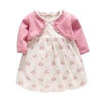Baby Girl Clothing Set Girls Autumn Knitted Long Sleeve Coat Cordury Flower Dress Set Newborn Clothes