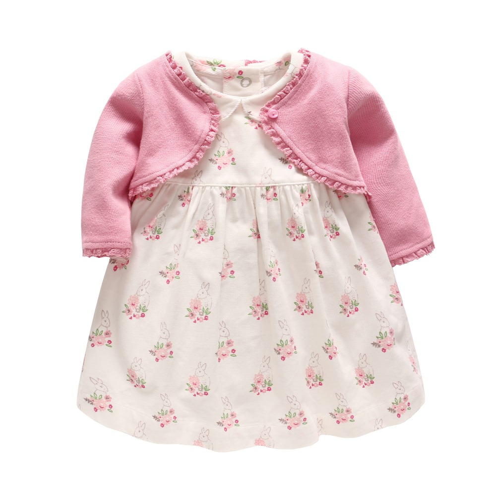 Baby Girl Clothing Set Girls Autumn Knitted Long Sleeve Coat +Cordury Flower Dress Set Newborn Clothes Baby 1st Birthday Outfit cotton baby rompers set newborn clothes baby clothing boys girls cartoon jumpsuits long sleeve overalls coveralls autumn winter