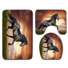 Modern 3D Horse Toilet Bath Mat Carpet Rug Sets Bathroom Shower Room Decoration Carpets Flannel Anti Slip 3pcs  Bath Mat Sets
