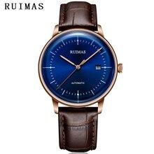 Для мужчин Простые Модные кожаные часы Бизнес механические часы мужской синий часы Наручные часы RUIMAS Montre Homme с MIYOTA 8215
