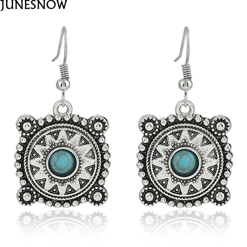 New Fashion Luxury Silver Color Vintage Animals Turtle Brilliant Crystal Synthetic Stone Drop Earrings Jewelry For Women EA012