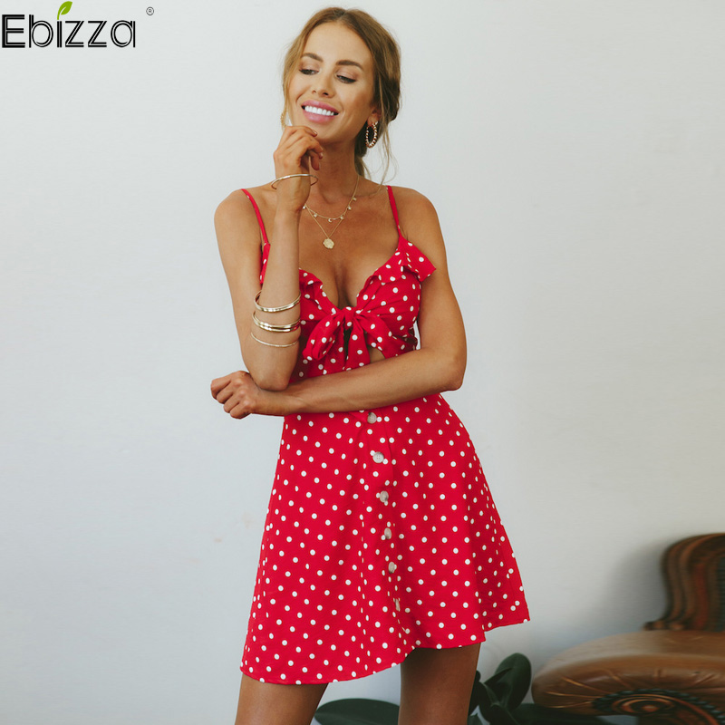 Ebizza Spaghetti Strap Polka Dots Print Dress Sexy Women Bow Hollow Out...
