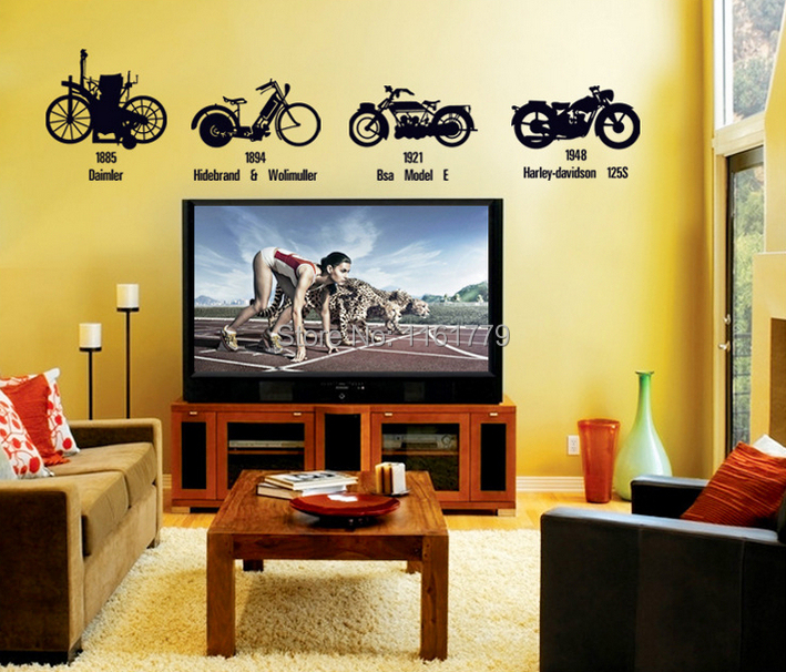 LP Creative Black Bicycle Motorcycle DIY Wall Stickers TV/Sofa Background  Entryway Corridor Mural Decal