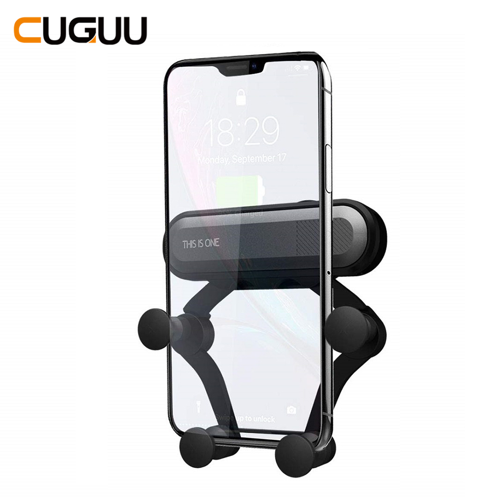 Universal Gravity Car Phone Holder Air Vent Mount Stand For IPhone XS Max In Car No Magnetic Mobile Phone Holder For Samsung S10