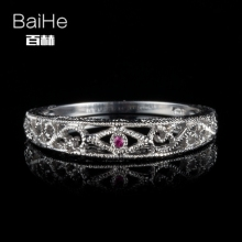 BAIHE Sterling Silver 925 0.01ct Certified H/SI3 Round Cut 100% Genuine Rubies Women Classic Fine Jewelry Elegant unique Ring