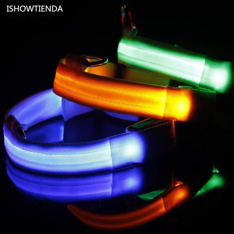 ISHOWTIENDA Hot Adjustable Safety Pets Dog LED Flashing Night Light Nylon Hanging Collar USB Charging Collar De Perro Luminoso