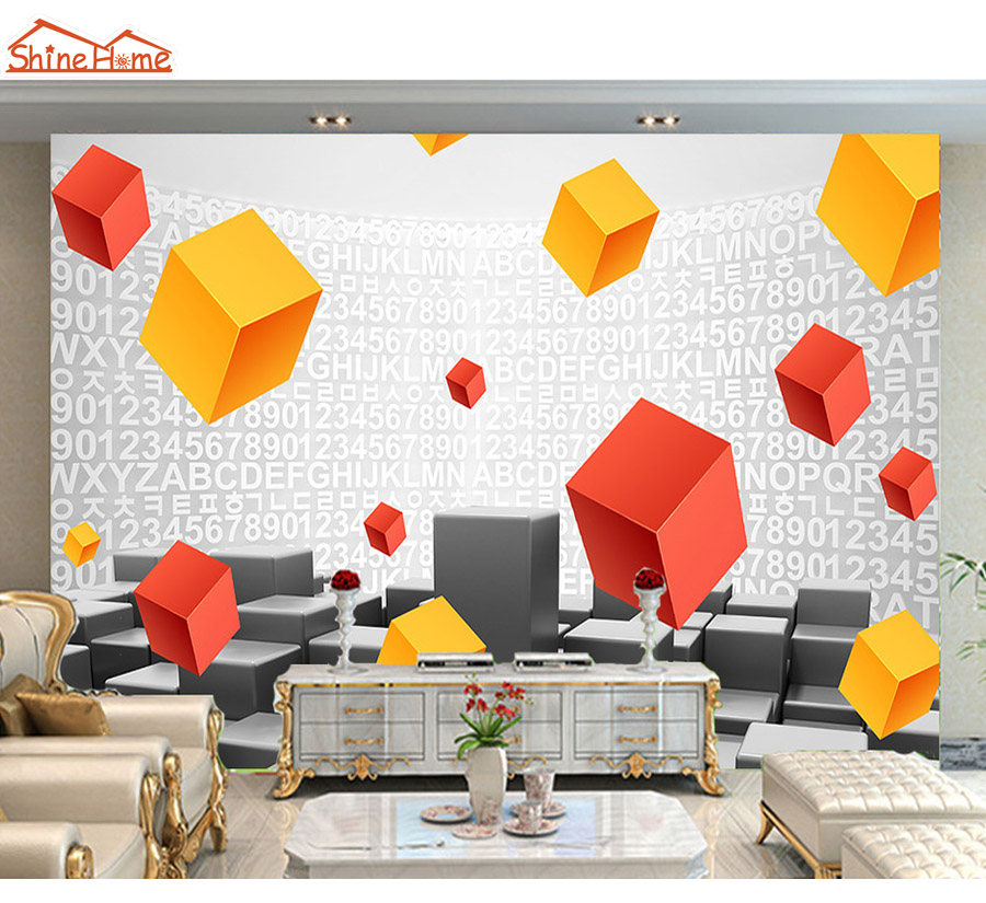 Shinehome-3d Geometric Patterns Letters Number 3D Mural Rolls Wallpaper for Living Room Bedroom Wall Paper Roll Papel De Parede shinehome modern wallpapers tree forest waterfall 3d mural rolls wallpaper for living room 3 d wall paper roll papel de parede