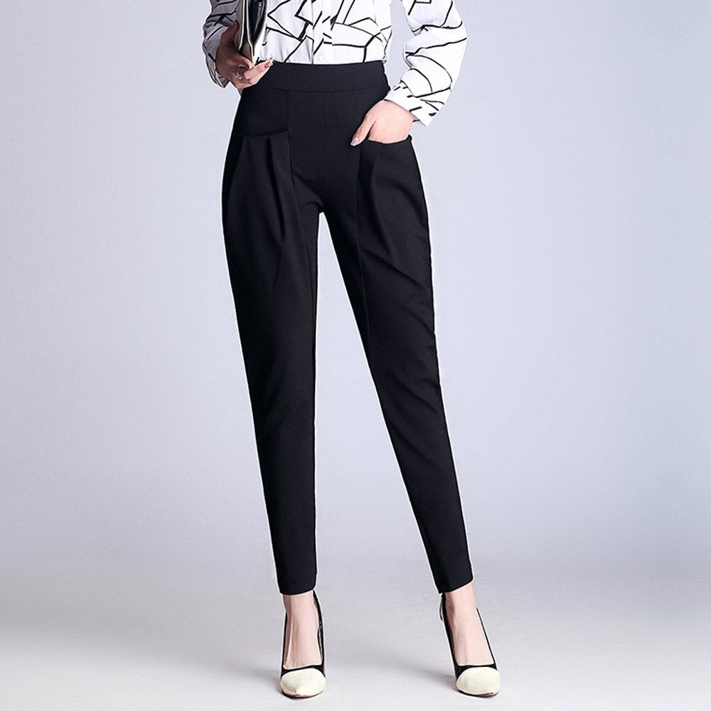 New Front Pockets Harem Pants Women Elegant Loose High Waist Casual Pants Female Office Lady Stretch Plus Size Pants Trousers