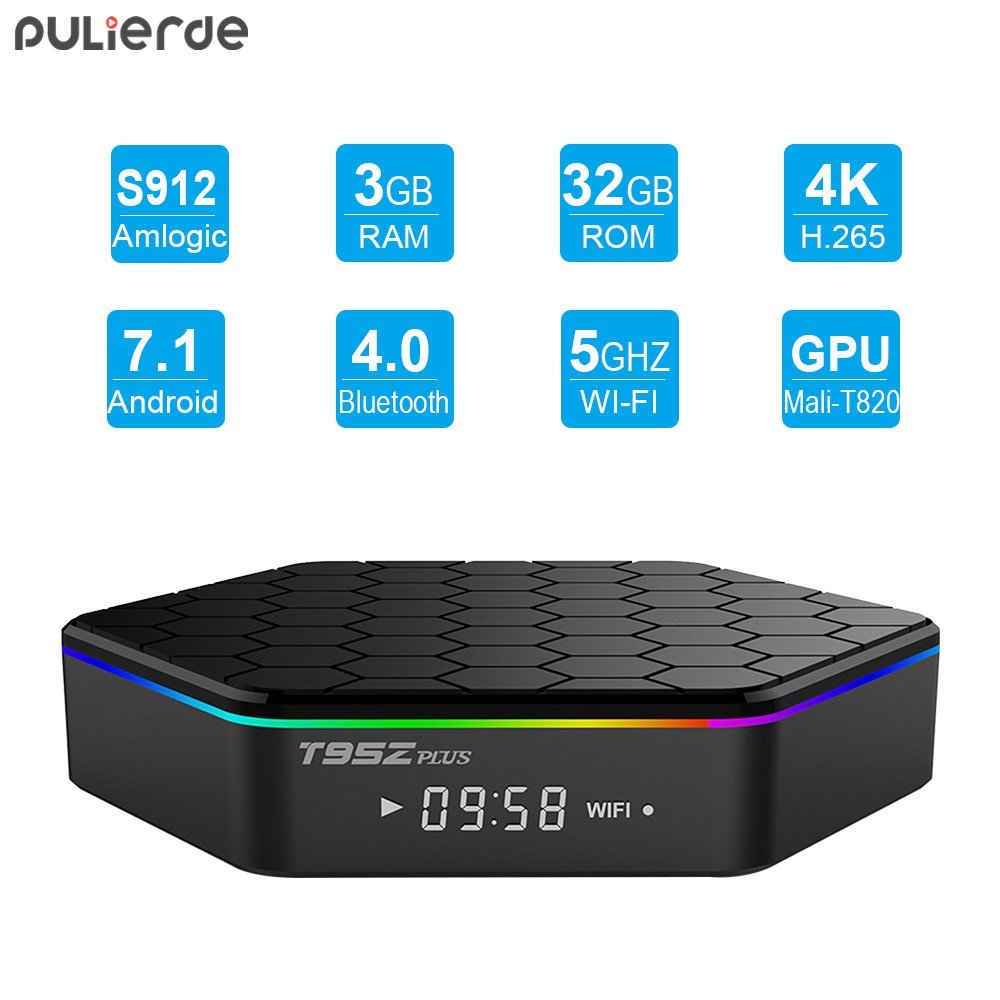 PULIERDE T95Z Plus 3GB 32GB Android 7.1 TV BOX Amlogic S912 Octa Core 2.4G/5GHz WiFi BT4.0 HD 4K Smart Media Player Set Top Box h96 pro plus amlogic s912 octa core android 7 1 tv box 3gb 32gb 4k hd media player 2 4g 5ghz wifi smart set top box