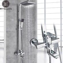 """Krom banyo duş mikser musluk döndür küvet bacalı duvara montaj 8 """"yağış duş başlığı duş başlığı duş seti 3 yönlü mikser vana"""
