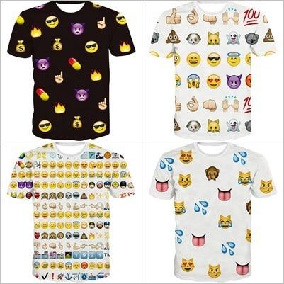 Alisister Nueva Moda hombres/mujeres Emoji Camiseta Harajuku 3d Emoticonos Camiseta Divertida negro/blanco Ropa Superior mujer tee-shirt