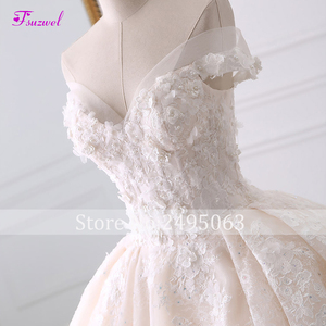 Image 3 - Robe de mariée en dentelle à fleurs, robe de mariée avec Appliques, robe de mariée princesse, col mignon, perles, Train Royal, robe de bal, 2020