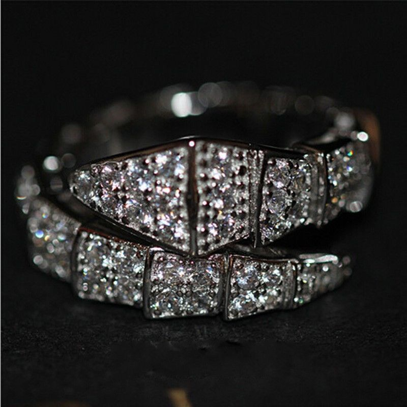 Women Snake Style Diamonique AAA Cubic zirconia 10kt White Gold Filled Wedding Eternity Engagement Ring chrisrtmas