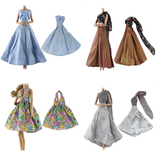 TOYZHIJIA 1Pc Elegant Summer Clothing Gown For Barbie doll Hand make wedding  princess Dress Doll Party 202f84593d77