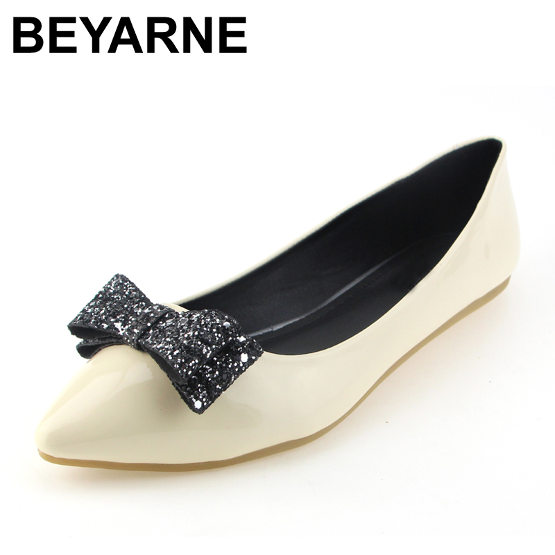 BEYARNE New Fashion Women Soft Leather Flats Canvas Black Pointy Toe Ballerina Ballet Flat Slip On Shoes Big Size 12- 14 odetina 2017 new designer lace up ballerina flats fashion women spring pointed toe shoes ladies cross straps soft flats non slip