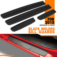 1Set Black Car Molded Sill Guards 4 Door Sill Guards Body Running Boards Kit for Jeep for Wrangler JL