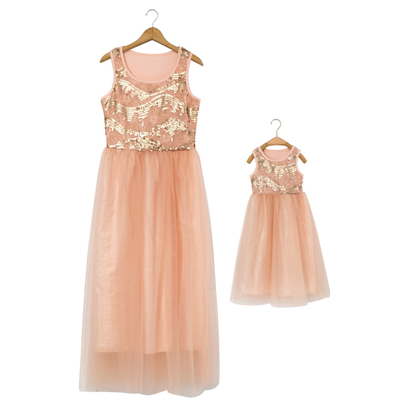 ФОТО 2016 new style sequin dress mother and daughter  dresses family matching outfits hot sale