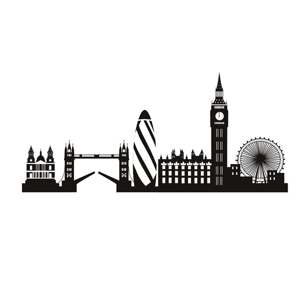 Us 718 20 Offlondon Skyline Wall Sticker Big Ben Landmark Wall Decal City Building Home Decor Living Room Decoration In Wall Stickers From Home