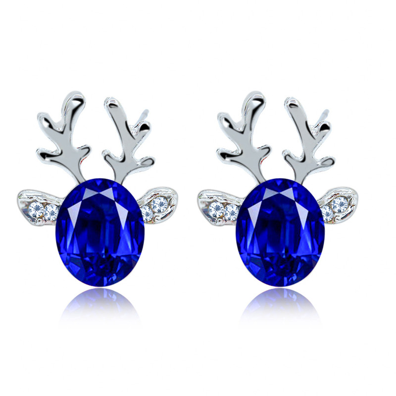 ZN Fashion Antler Crystal Earrings Luxury Three-Dimensional Earrings Christmas Reindeer Earrings Multicolored For Women Trend