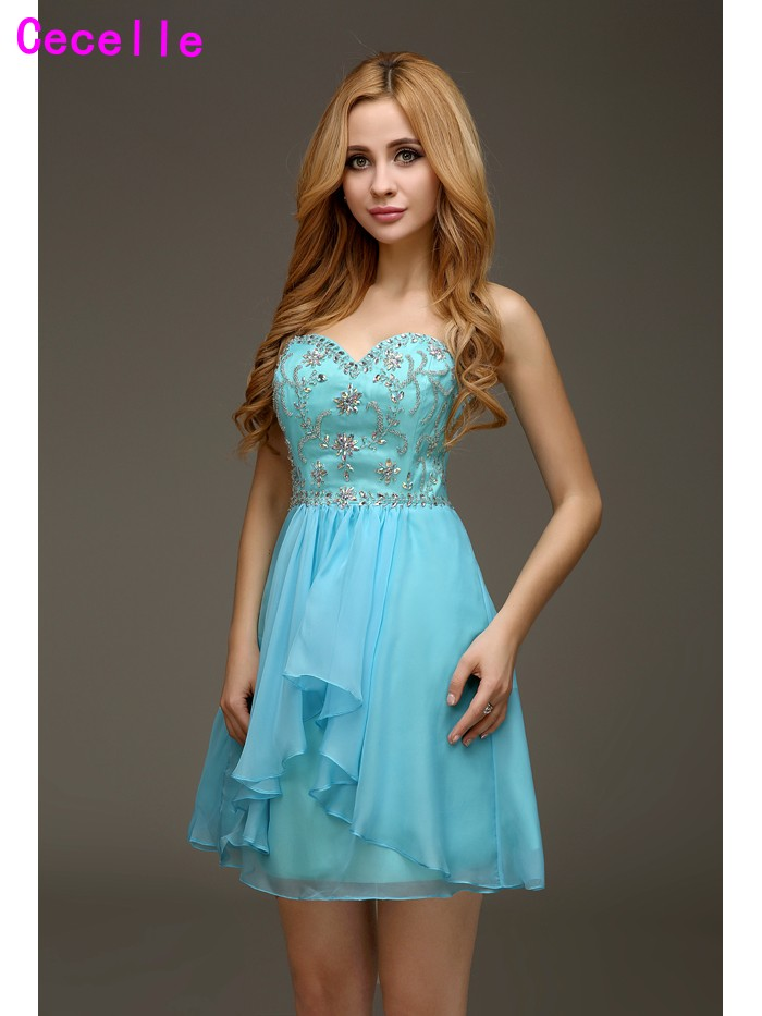 2019 Real Images Hot Blue A-line Beading Chiffon Juniors Homecoming   Cocktail     Dresses   Cute High Quality Robe De   Cocktail   Custom