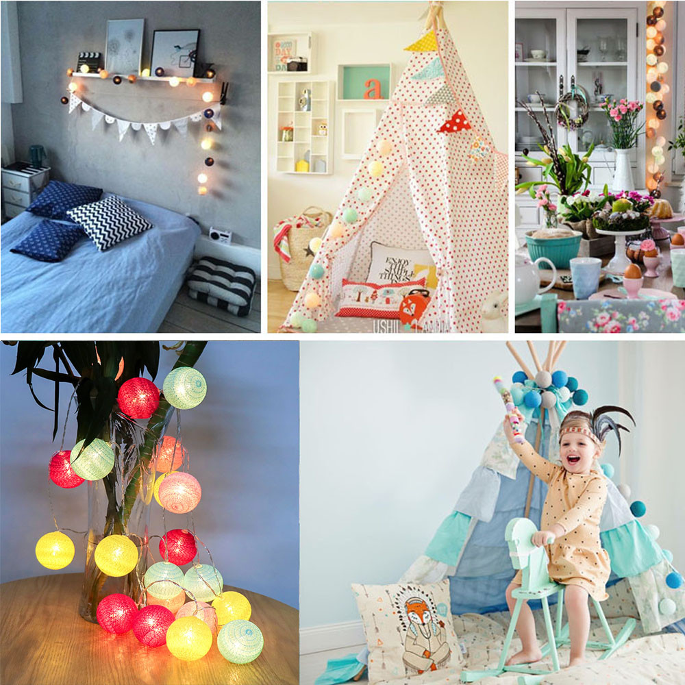 3Meters 20 Cotton Ball String Lights Fairy Hanging Wedding Bedroom Living Room 2019 New Arrival Hot Sale6.90