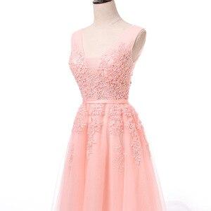 Image 3 - מכירה לוהטת מסיבת קוקטייל שמלות קצר Vestido דה Festa מיני סקסי אפליקציות שמלת V צוואר ואגלי פנינים