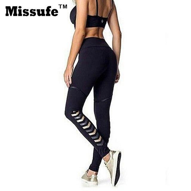 Missufe Women Skinny Black Stretchy Leggings Slim Pants Girls Trousers 2017 Workout High Waist Exercise Leggins For Women