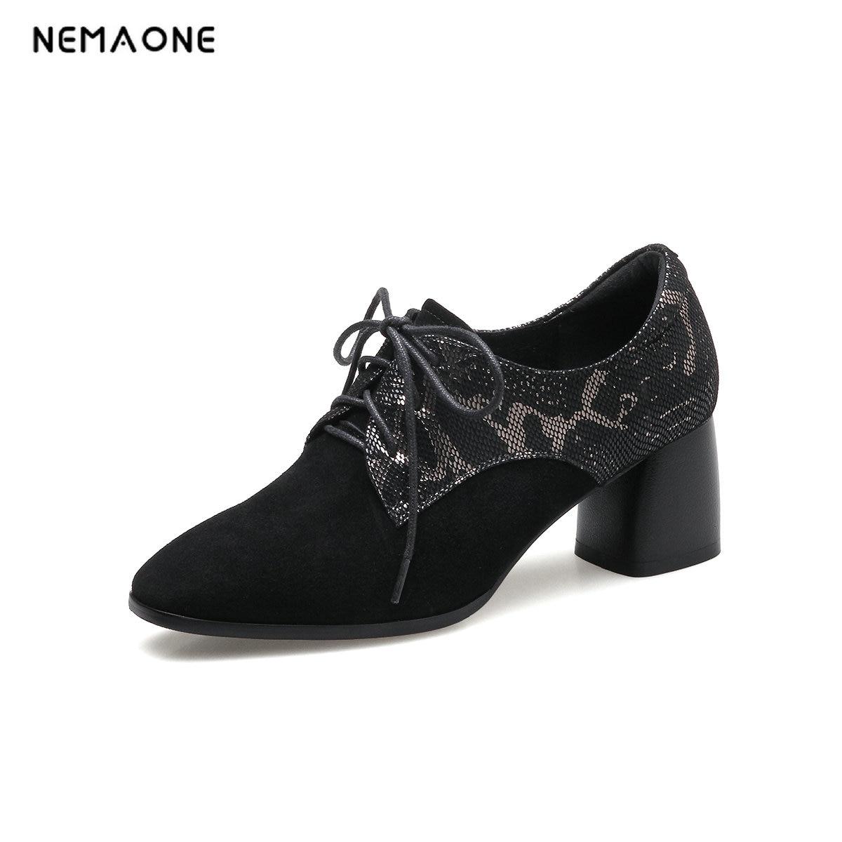 NEMAONE 2018 Big size 39-43 Lace-Up pumps Genuine leather Round Toe High heels Black Fashion Free shipping nemaone new fashion 2018 genuine leather
