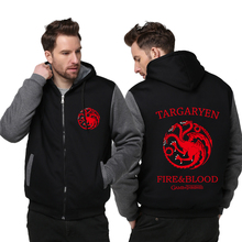 Adult men women Game of Thrones House Targaryen Jacket Sweatshirts Thicken Hoodie Zipper Coat